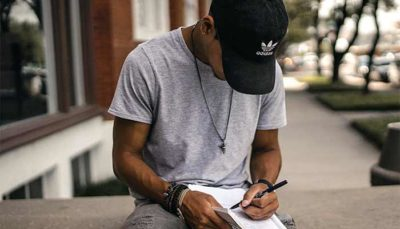 man writing